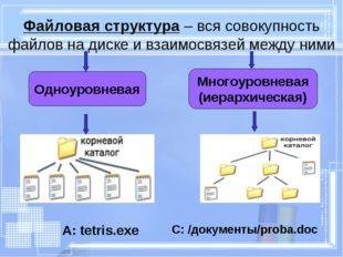 Файловая структура – вся совокупность файлов на диске и взаимосвязей между ни
