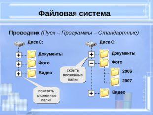 Файловая система Проводник (Пуск – Программы – Стандартные) показать вложенны
