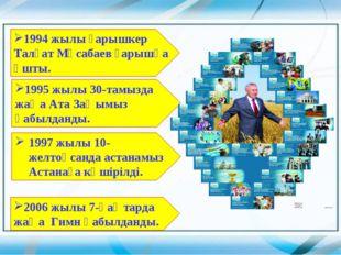 1994 жылы ғарышкер Талғат Мұсабаев ғарышқа ұшты. 1995 жылы 30-тамызда жаңа Ат