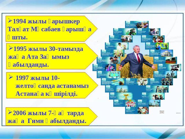 1994 жылы ғарышкер Талғат Мұсабаев ғарышқа ұшты. 1995 жылы 30-тамызда жаңа Ат...