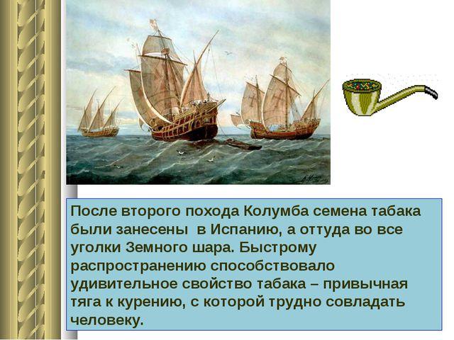 После второго похода Колумба семена табака были занесены в Испанию, а оттуда...