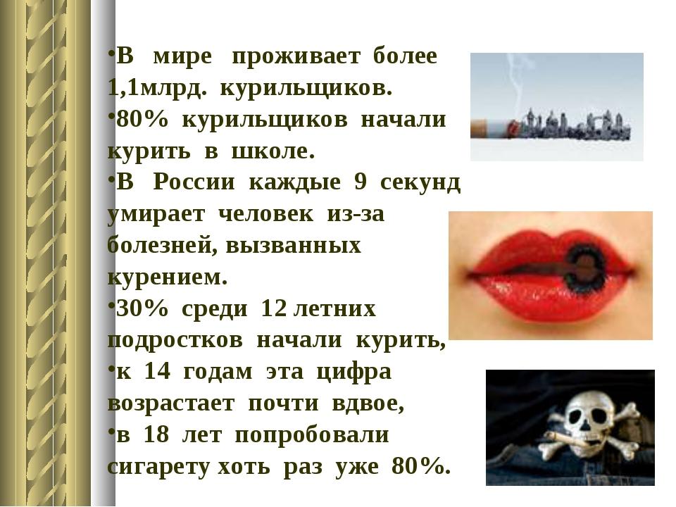 В мире проживает более 1,1млрд. курильщиков. 80% курильщиков начали к...