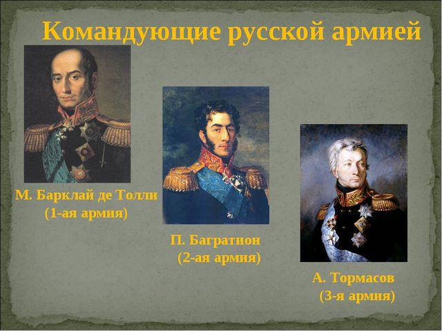 Командующие русской армией М. Барклай де Толли (1-ая армия) П. Багратион (2-а...