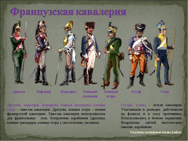 Драгуны, кирасиры, жандармы, конные гренадеры, конные егеря – тяжелая кавалер...