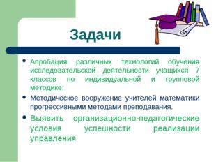 Задачи Апробация различных технологий обучения исследовательской деятельност
