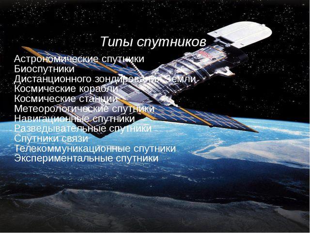 Типы спутников Астрономические спутники Биоспутники Дистанционного зондирова...