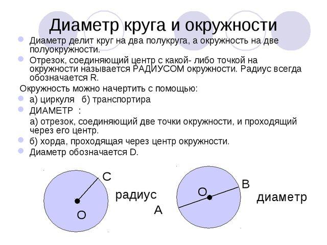 Диаметр круга и окружности Диаметр делит круг на два полукруга, а окружность...