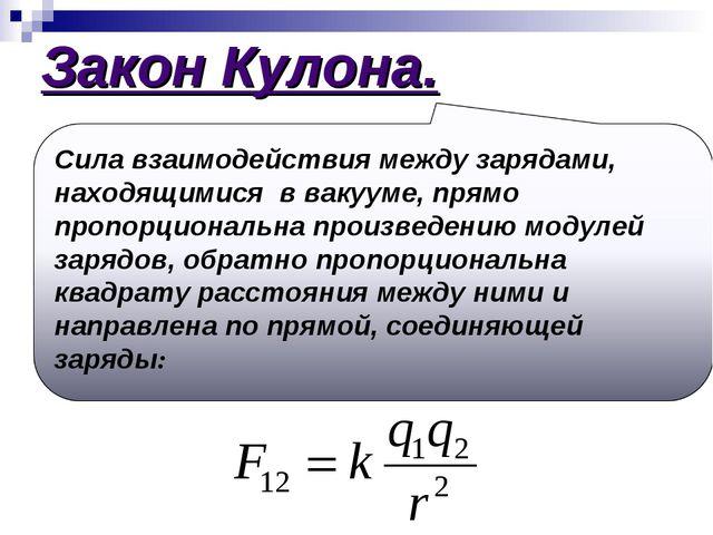 Закон Кулона.