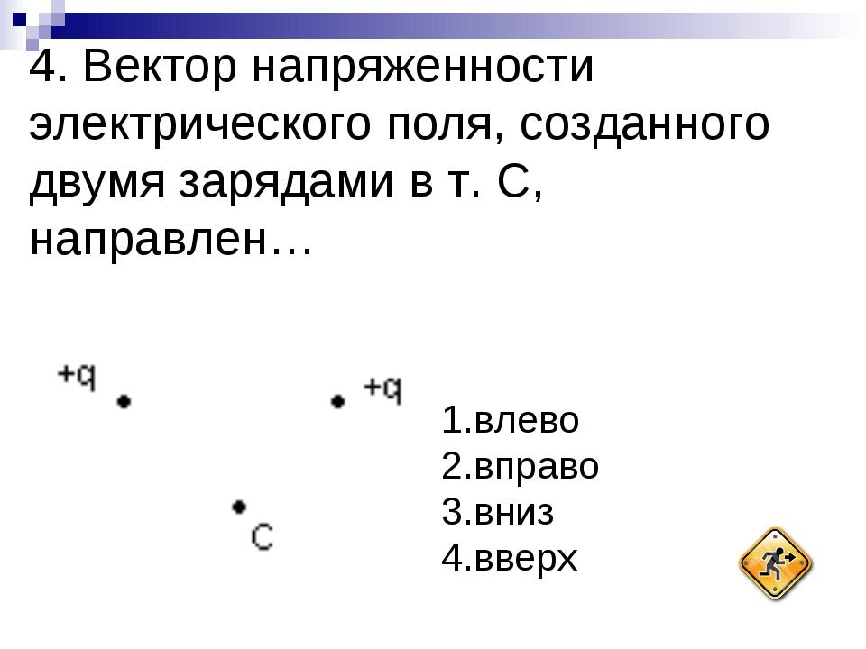 4. Вектор напряженности электрического поля, созданного двумя зарядами в т. С...