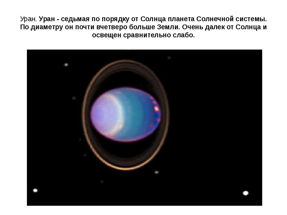 Уран. Уран - седьмая по порядку от Солнца планета Солнечной системы. По диаме...