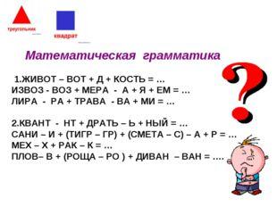 Математическая грамматика 1.ЖИВОТ – ВОТ + Д + КОСТЬ = … ИЗВОЗ - ВОЗ + МЕРА -