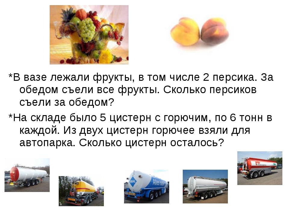 *В вазе лежали фрукты, в том числе 2 персика. За обедом съели все фрукты. Ск...