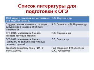 Список литературы для подготовки к ОГЭ 3000 задач с ответами по математике. В