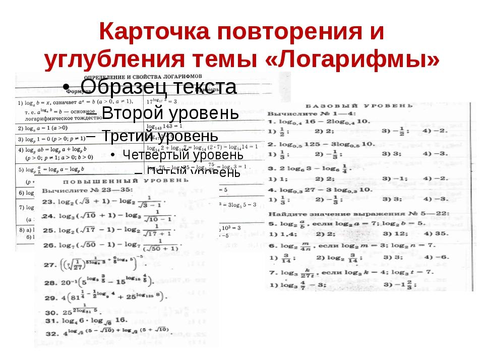 Карточка повторения и углубления темы «Логарифмы»