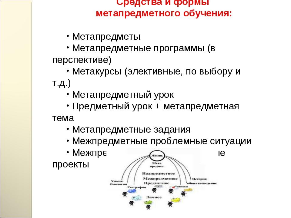 Средства и формы метапредметного обучения: Метапредметы Метапредметные програ...