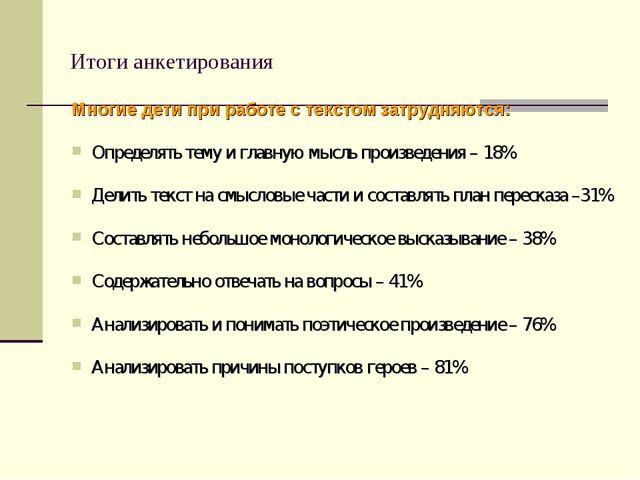 Итоги анкетирования Многие дети при работе с текстом затрудняются: Определять...