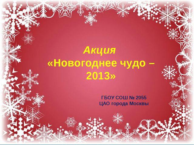 Акция «Новогоднее чудо – 2013» ГБОУ СОШ № 2055 ЦАО города Москвы