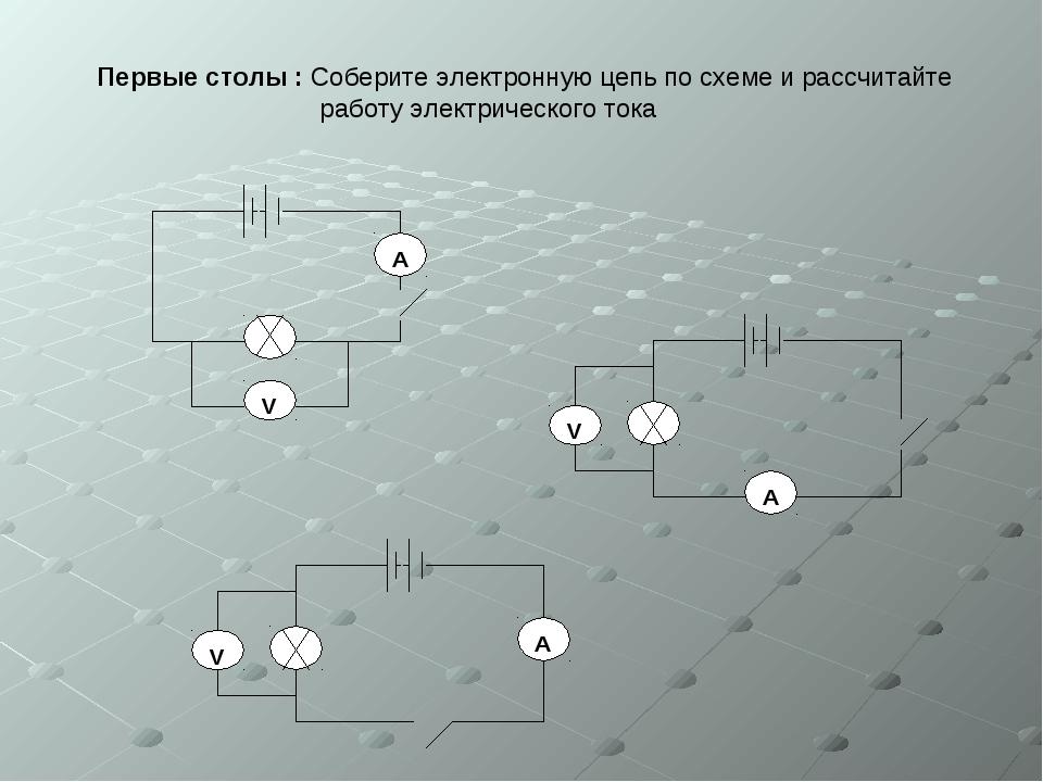 Первые столы : Соберите электронную цепь по схеме и рассчитайте  работу эле...