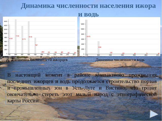 Динамика численности населения ижора и водь В настоящий момент в районе комп...