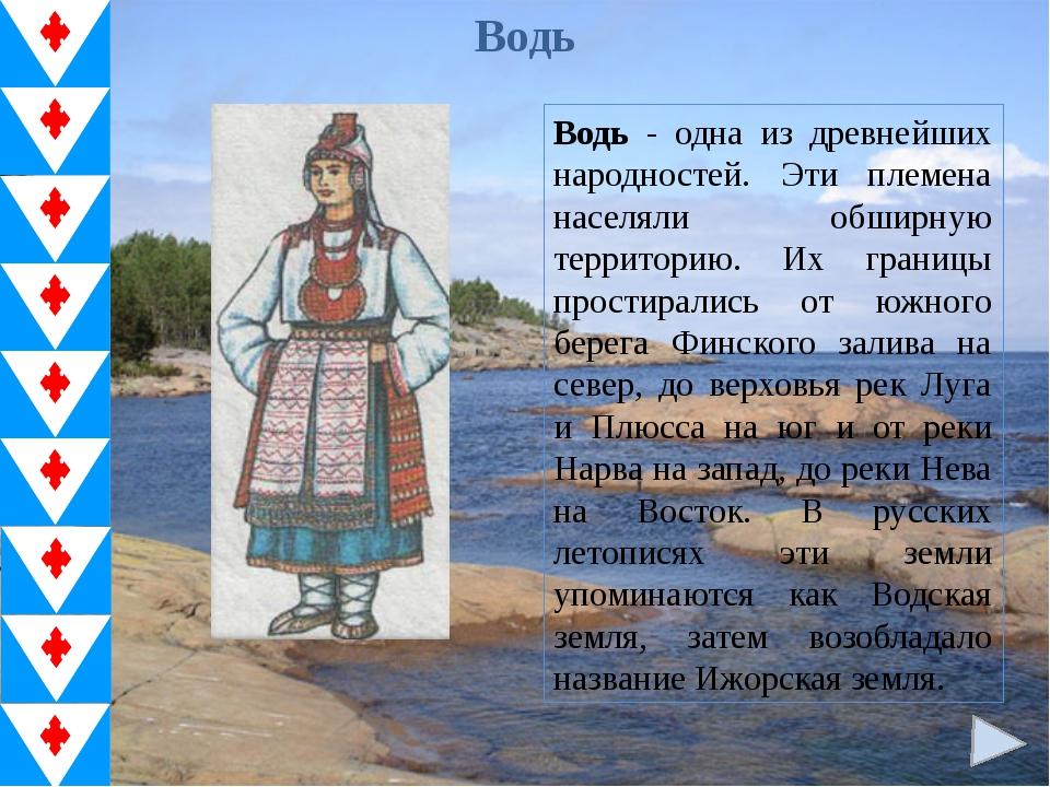 Водь Водь - одна из древнейших народностей. Эти племена населяли обширную тер...