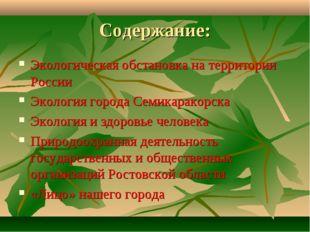 Содержание: Экологическая обстановка на территории России Экология города Сем