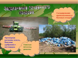 Чрезмерная распашка земель, Внесение удобрений и пестицидов. Тяжелые металлы,