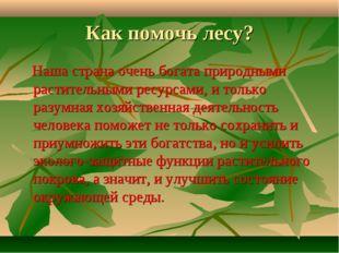 Как помочь лесу? Наша страна очень богата природными растительными ресурсами,