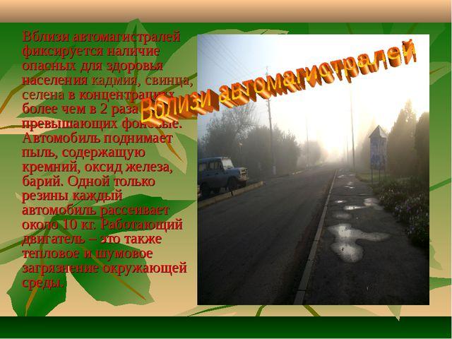 Вблизи автомагистралей фиксируется наличие опасных для здоровья населения ка...