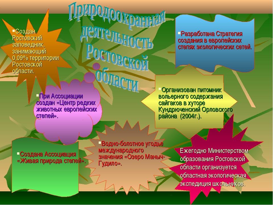 Создан Ростовский заповедник, занимающий 0,09% территории Ростовской области....