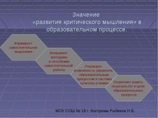 Значение «развития критического мышления» в образовательном процессе. Формиру