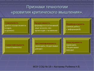 Признаки технологии «развития критического мышления». Продуктивность (формир