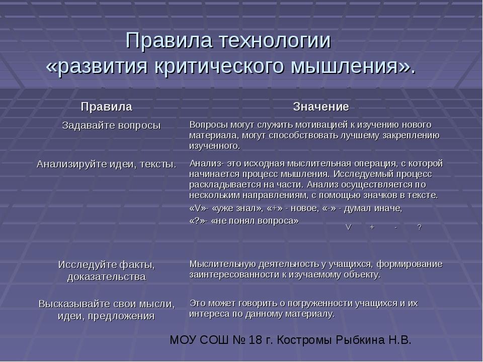 Правила технологии «развития критического мышления». МОУ СОШ № 18 г. Костромы...