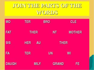 JOIN THE PARTS OF THE WORDS MO		TER		BRO		 CLE 						 FAT		 THER		NT	 MOTHER
