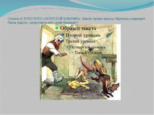 СказкаА.ТОЛСТОГО «ЗОЛОТОЙ КЛЮЧИК». Какое право крысы Шушеры нарушил Папа Ка
