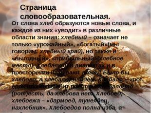 Страница словообразовательная. От слова хлеб образуются новые слова, и каждое
