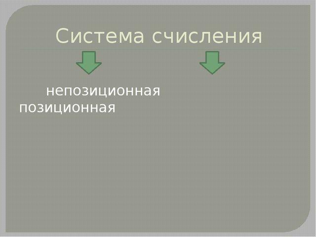 Система счисления непозиционная позиционная