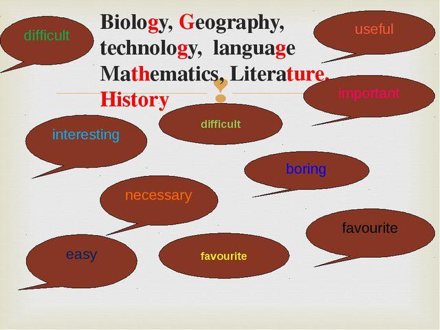 Biology, Geography, technology, language Mathematics, Literature, History us...