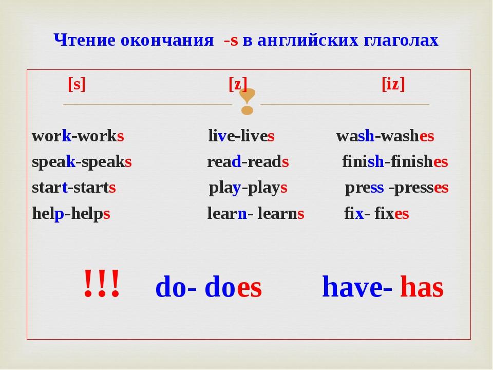 [s] [z] [iz] work-works live-lives wash-washes speak-speaks read-reads finis...