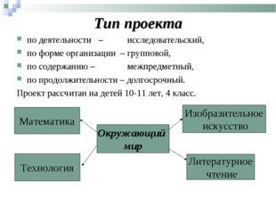 Тип проекта по деятельности – исследовательский, по форме организации – груп