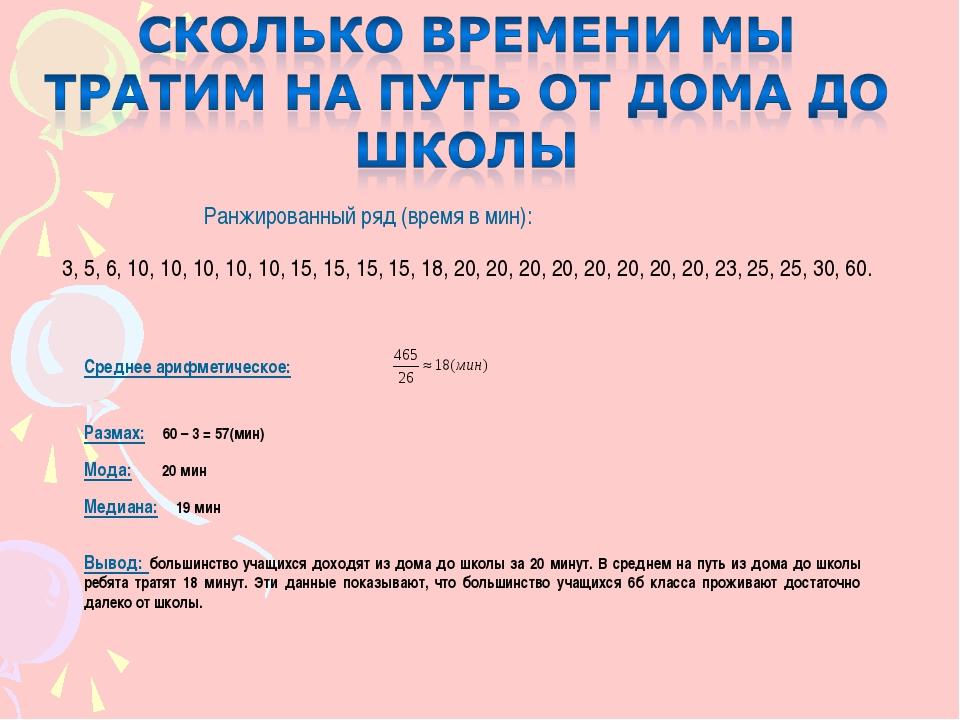 Ранжированный ряд (время в мин): 3, 5, 6, 10, 10, 10, 10, 10, 15, 15, 15, 15,...