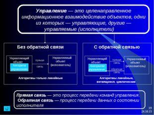 * * Прямая связь — это процесс передачи команд управления. Обратная связь — п