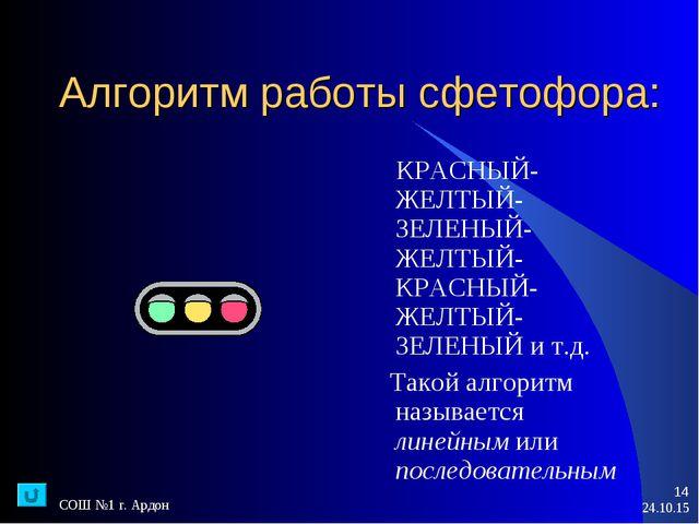 * СОШ №1 г. Ардон * Алгоритм работы сфетофора: КРАСНЫЙ-ЖЕЛТЫЙ-ЗЕЛЕНЫЙ-ЖЕЛТЫЙ-...