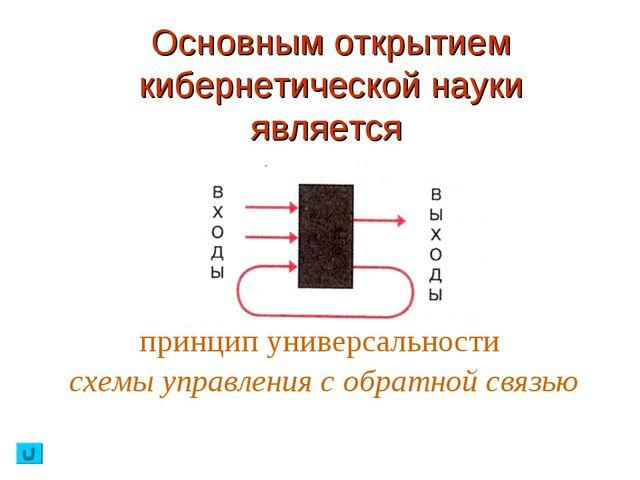 Основным открытием кибернетической науки является принцип универсальности схе...