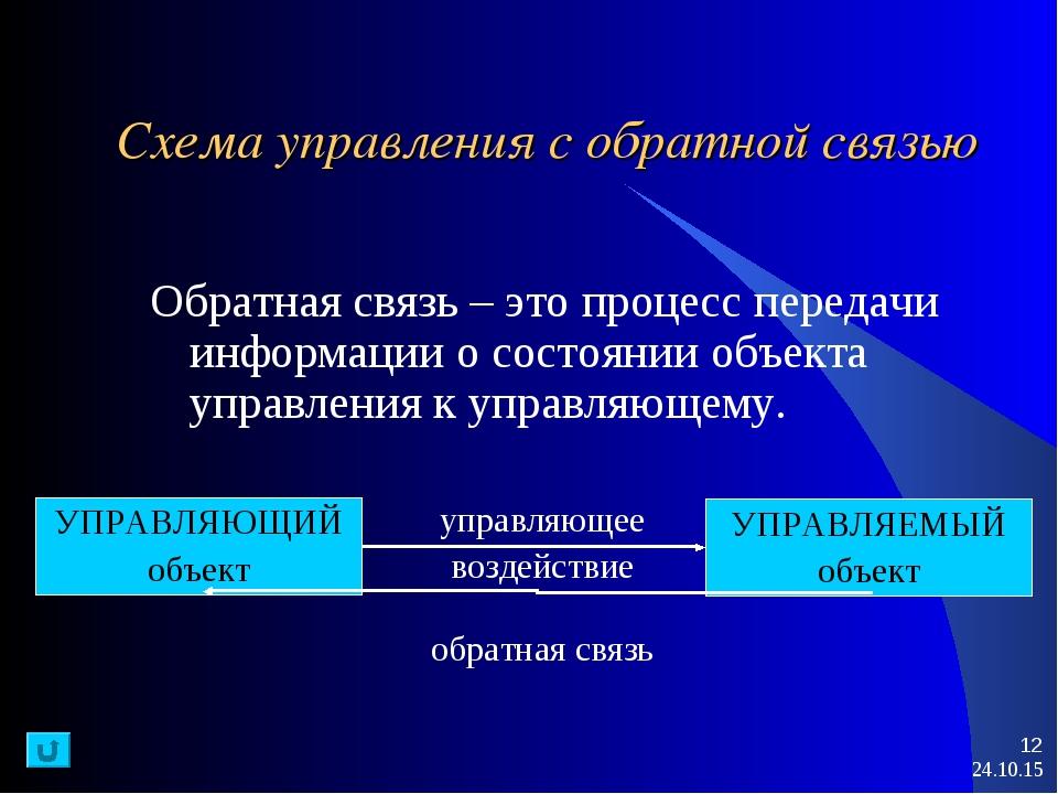 * * Схема управления с обратной связью Обратная связь – это процесс передачи...