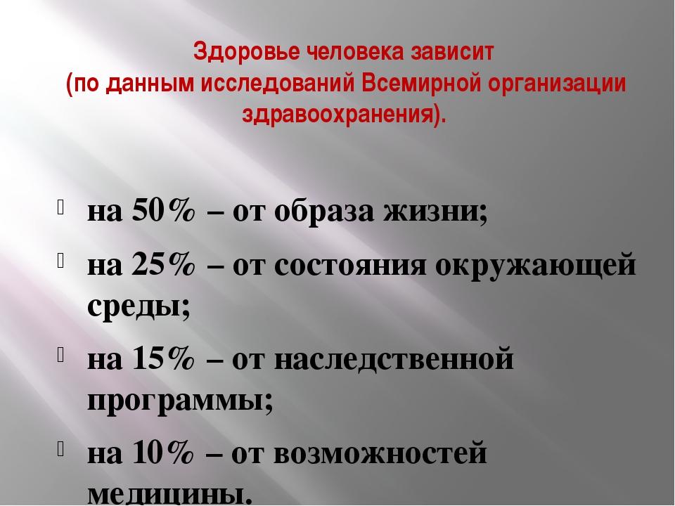 Здоровье человека зависит (по данным исследований Всемирной организации здрав...