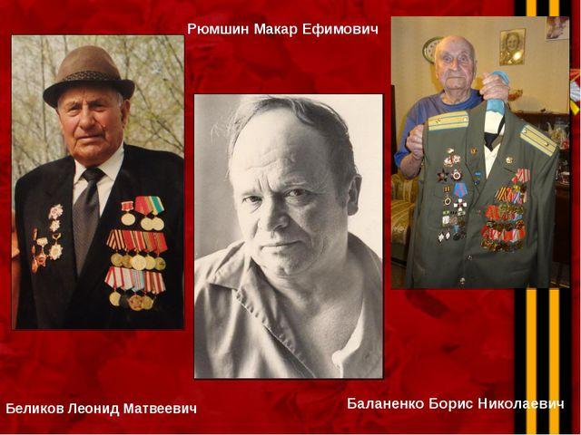 Беликов Леонид Матвеевич Рюмшин Макар Ефимович Баланенко Борис Николаевич