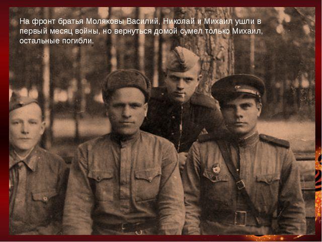 На фронт братья Моляковы Василий, Николай и Михаил ушли в первый месяц войны,...