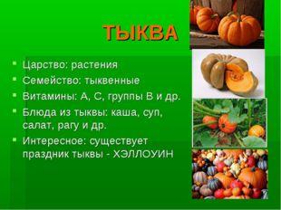 ТЫКВА Царство: растения Семейство: тыквенные Витамины: А, С, группы В и др. Б