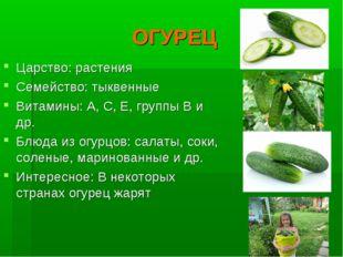 ОГУРЕЦ Царство: растения Семейство: тыквенные Витамины: А, С, Е, группы В и д
