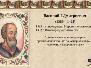 Василий I Дмитриевич (1389 – 1425) 1393 г. присоединено Муромское княжество